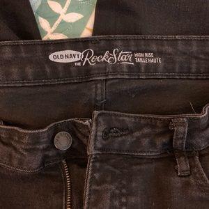 long black rockstar high rise jeans